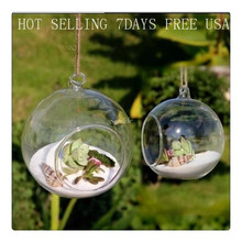 8pieceS DIA 8CM hanging round glass air plant terrariums bubble crystal balls flower globe vase for wedding ceiling decorations(China)