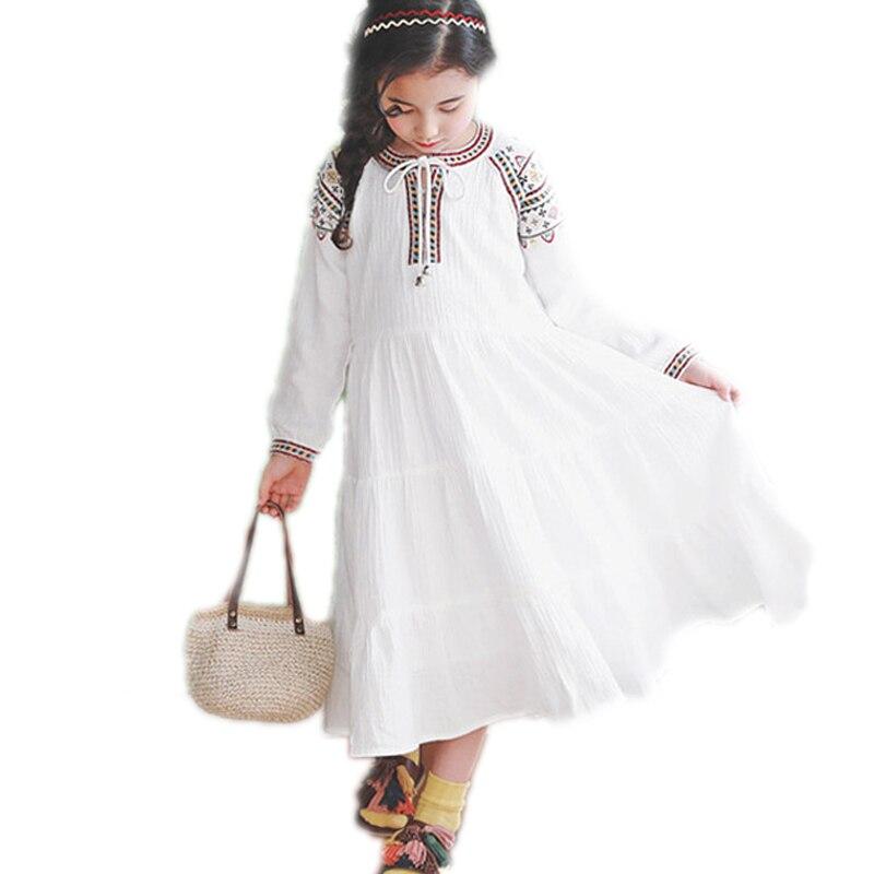 girls summer dresses 2017 spring little girls dresses long sleeve solid kids vestidos nationality embroidery toddler girl dress <br>