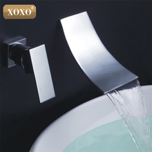 XOXO New Bathroom Small Waterfall Wall Mounted Faucet Bathroom Polished Chrome Mixer Tap Bathroom tap 83017(China)