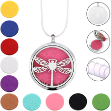 Beauty Dragonfly Silver Color Magnetic 316L Stainless Steel Essential Oil Diffuser Perfume Locket Necklace Pendant Jewelry(China)