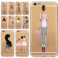 Sexy Lady Phone Case For Apple iPhone  6 6s Transparent Soft Silicon Fashional Girl Cover Mobile Phone Bag