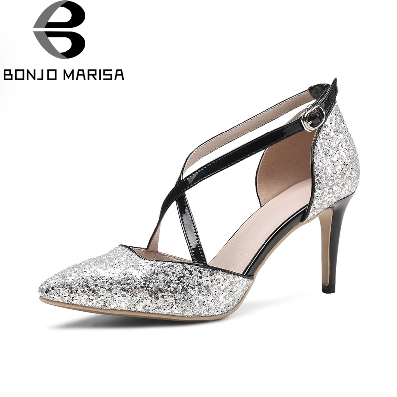 BONJOMARISA 2018 Summer Sexy Bling Genuine Leather Women Sandals High Heels Glitter Party Wedding Shoes Woman Cover Heels Shoe<br>