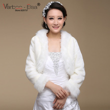 VARBOO_ELSA 2017 Winter Wedding Coat Bridal Jacket Ivory Faux Fur Cape Wedding Shawls Wedding Accessories Elegant Bridal Shawl