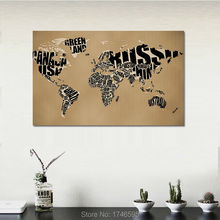 30x20 Letters monogram design World Map Modern Home Decoration print Painting on Canvas For Living Room decor Canvs painting