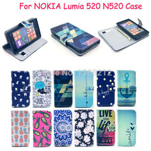 1PCS Hot Sale ! Flip Leather PU Case For Nokia Lumia 520 N520 Stand Cover Back Cases with wallet and card holder Cell phone case