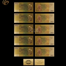 Wholesale Old AUD $50 Gold Banknote Colorful Australian Gold Plated Currency Paper Money with Certificate Card for Souvenirs