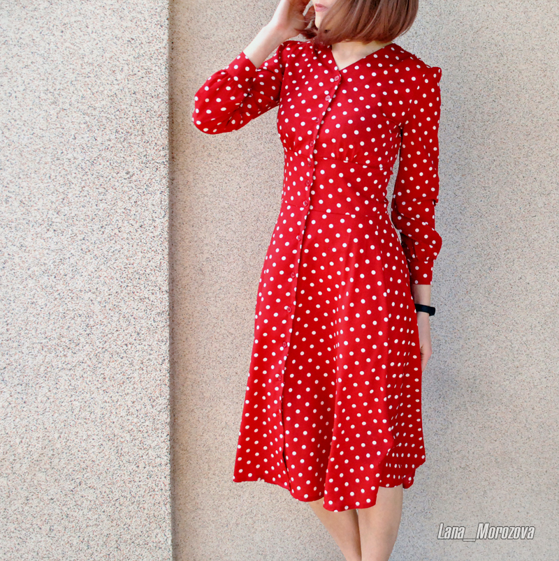 Flectit Vintage 80s Dress French Style Polka Dot Button Up Midi Dress Long Sleeve High Waisted Retro Holiday Dress Women 9