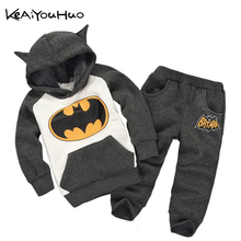 KEAIYOUHUO New Children spring Autumn red blue batman cartoon boys and girls T-shirt + pants suit children's sports clothing set