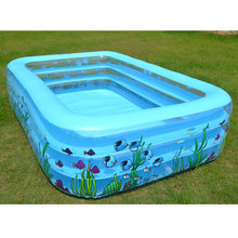 Intime Inflatable Kiddie Pool - Family and Kids Inflatable Rectangular Pool Swimming Pool Blue Printed(China)