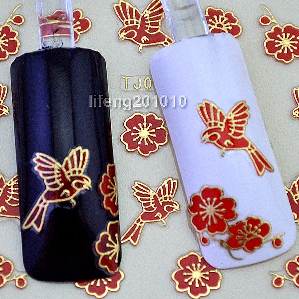6 Sheets Beauty Red Bird Flowers 3D Nail Stickers Decals Acrylic Nail Art Decorations Tools Hot Stamping Gold Design RTJ040(China (Mainland))