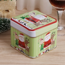 Christmas Style Square Tin Box Biscuit Candy Case Xmas Gift Cookie Storage W15(China)
