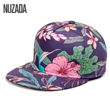 Brands NUZADA 2017 Leopard Men Women Baseball Cap Snapback Printing Flowers Couple Hip Hop Hats Quality Cotton Caps Bone(China)