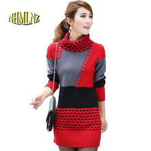 New Women Spring Autumn Winter Slim Long-sleeves Sweater Thick Knitting Sweater Coat Fashion Medium long Big yards Sweater F804(China)