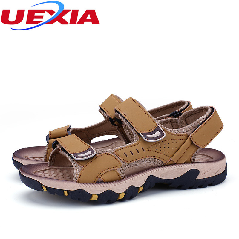 6cbabe406b9226 2017 Mens Leather Outdoor Sandals Summer Men Shoes Sport Sandals ...