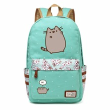 Pusheen Cat  Canvas bag unicorn Flower wave point Rucksacks backpack for teenagers Girls women  School Bags travel Shoulder Bag
