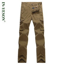 Brand IN-YESON Outdoor Pants Men Loose Multi Pockets Hiking Camping Hunting Pants Cargo Pants Men Trekking Trousers Big Size 44(China)