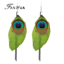 Famous Brand Jewelry Boho Earrings Colorful Peacock Feather Long Dangle Earrings with Chain for Women Brincos Ethnic Jewelry