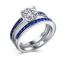 Royal Blue silver plated Ring sets jewelry lady princess cut unique engagement gift bridal Cubic Zircon wedding bands for women