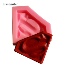 Superman Design 3D Fodant Sugar Craft Soap Mold Gift Decorating Tools Bakewear Baking Tools 50-234