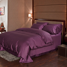 Dark purple 100% Egyptian cotton bedding sets sheets Luxury queen duvet cover king size doona quilt bed in a bag bedspread linen(China)