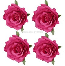 "4"" Diameter Hot Pink Artificial Silk Rose Flower Heads for DIY Hair Clip Bridal Bridesmaid Headpiece Wedding Party Decoration(China)"