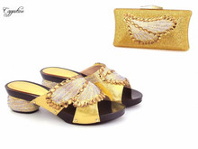 Wonderful gold with nice stones design slipper shoes and evening bag set for party CSB11, 5 color on sale
