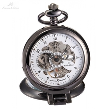 KS Luxury Brand White Skeleton Alloy Dial Analog Hand Wind Mechanical Relogio Fob Copper Men Key Steampunk Pocket Watch / KSP064