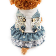 Armi store Sequined Cowboy Color Summer Dog Dresses Princess Dress For Dogs 6071036 Puppy Skirt Clothing Supplies 6 Size