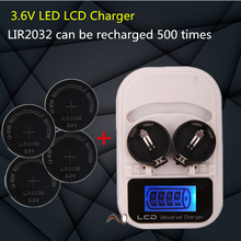1PCS charger+4PCSLIR2025 , rechargeable  LIR2025 LIR2032  LIR2016 3.6V button battery, LED rechargeable display, USB interface