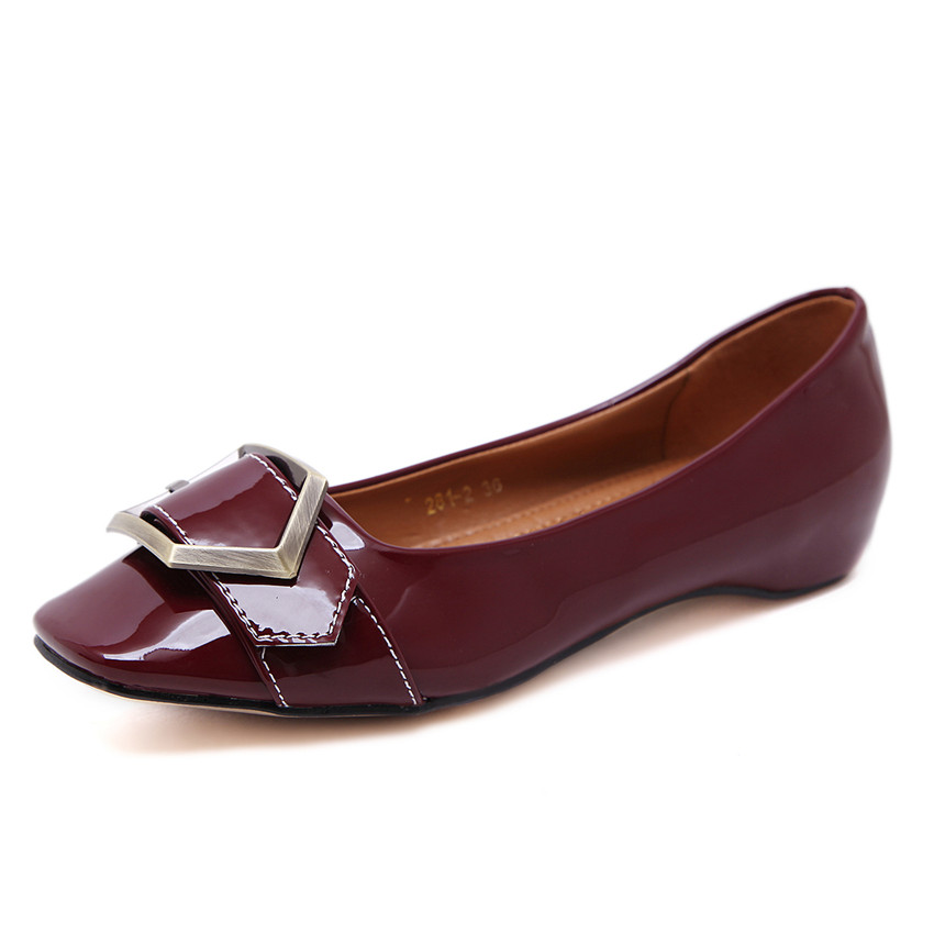 2017 Spring Women Patent Leather Flats Metal Decoration Shoes Creepers Zapatos Spring Autumn Fashion Square Toe Flats<br><br>Aliexpress