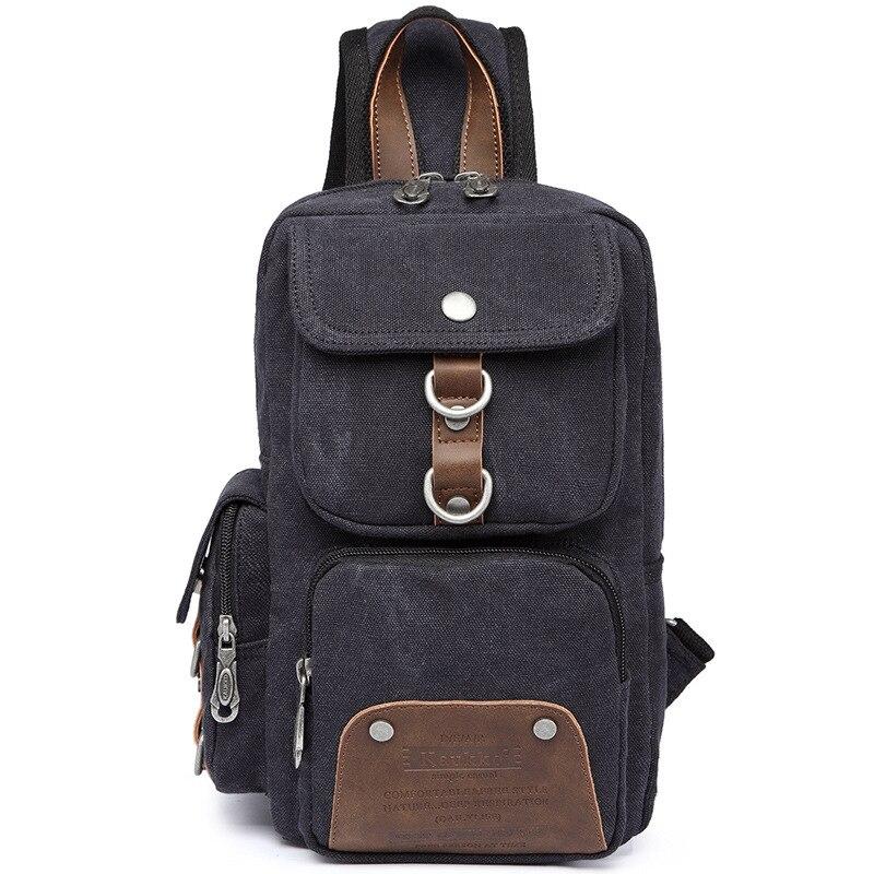 Wearable Black Canvas Inclined Shoulder Bag Men Satchel Messenger Bags Chest Bag Travel Riding Lady Chest Pack Hike Practical<br>