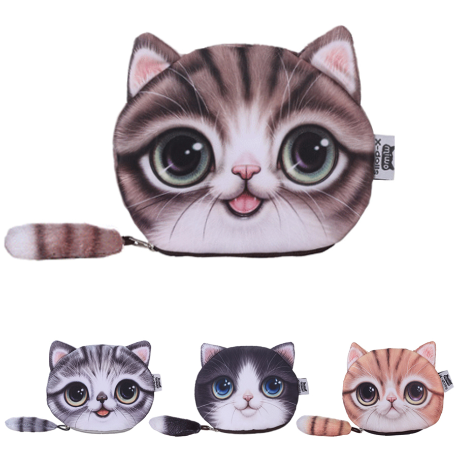 2016 Rushed Oval Zipper Unisex Coin Purses With Tail Lovely Cat Wallet Women Makeup Buggy Bags<br><br>Aliexpress