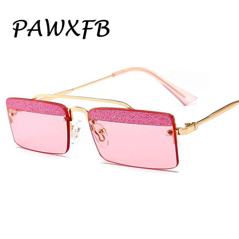 8f224f7c455 Pop Age Fashion Rimless Women Square Sunglasses Clear glitter Lens Pink Blue  Yellow Metal Frames Glasses