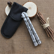 Dragon pattern Karambit folding Knife butterfly game knife,dull blade no edge tool practice butterfly knife(China)