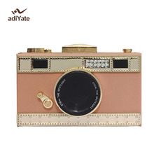 ADIYATE Camera Female Novelty Camera Women Bag Messenger Realistic 1:1 Camera Shape Bag Square Exempt Postage Novelty Leather