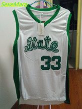 SexeMara Cheap Magic Earvin Johnson #33 State College Stitched White Throwback Basketball Jerseys(China)