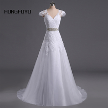 Buy HONGFUYU New Beautiful Women White Wedding Dresses 2018 Vestido De Noiva Beading Lace Appliques V Neck Line Bridal Dress 049 for $95.36 in AliExpress store