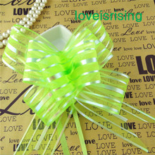 Tracking Number--50pcs/lot, 5cm Large Size Light Green Color Organza Pull Bows Wedding Favors Supplies Wedding car(China)
