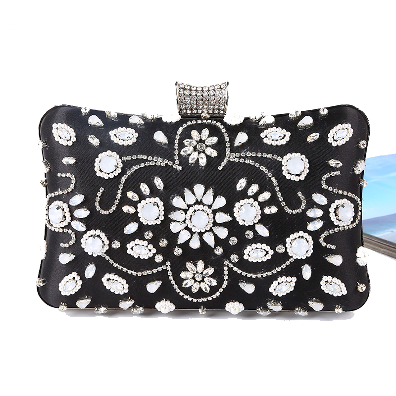 Vintage Fashion Women Day Clutches Bags Rhinestones Beading Small Purse Diamonds Chain Shoulder Evening Bags bolsos mujer<br>