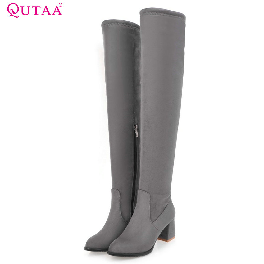 QUTAA 2017 Women Over The Knee High Boots High Quality Spring and Autumn Zipper Pointed Toe All Match Women Boots Size 34-43<br>