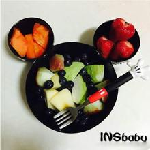 2016 New Melamine Baby Infant Cute Feeding Plate Fruit Dishes Kids White Black Red Color Child Tableware Set(China)