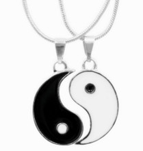 Factory direct sale 1 couple free shipping Handmade Enemal YIN YANG Necklaces 2 charms best friends YIN YANG pendant(China)
