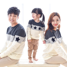 2016 New Spring Stars Embroidery patchwork design Family style T-shirt Striped Family Matching Outfits hoodies