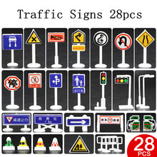 Traffic light Signs Model Toy 28pcs/lot DIY Mini Signpost Traffic Scene Educational Toys Cheap Car Toys Gift For Children