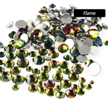 1 Pack 3d Glitter Flatback Nail Art Glass Rhinestones Hot Crystal Mix Size Shinning Decoration Tips Tools Flame Color SA314