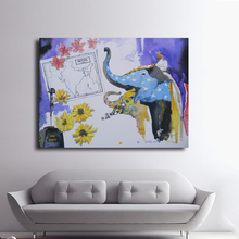 No Frame Colorful India Elephants Abstract Oil Painting Canvas Prints Wall Painting For Living Room Decorations wall pictures