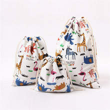 3pcs/set Cartoon Printed Storage Bags S/M/L Makeup Organizer Cute Drawstring Bag Clothing/Shoe/Coins/Keys Travel Pouch