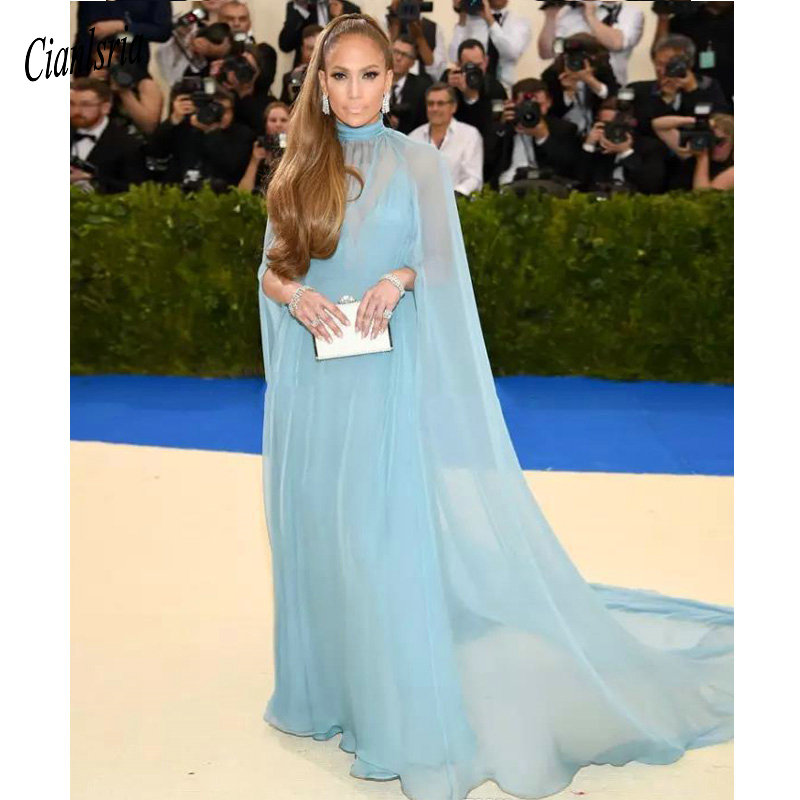Two pieces Light Sky Blue Prom Dresses A Line New 2019 Formal Cape Chiffon Gala Red Carpet Dress Celebrity Evening Gowns Cheap