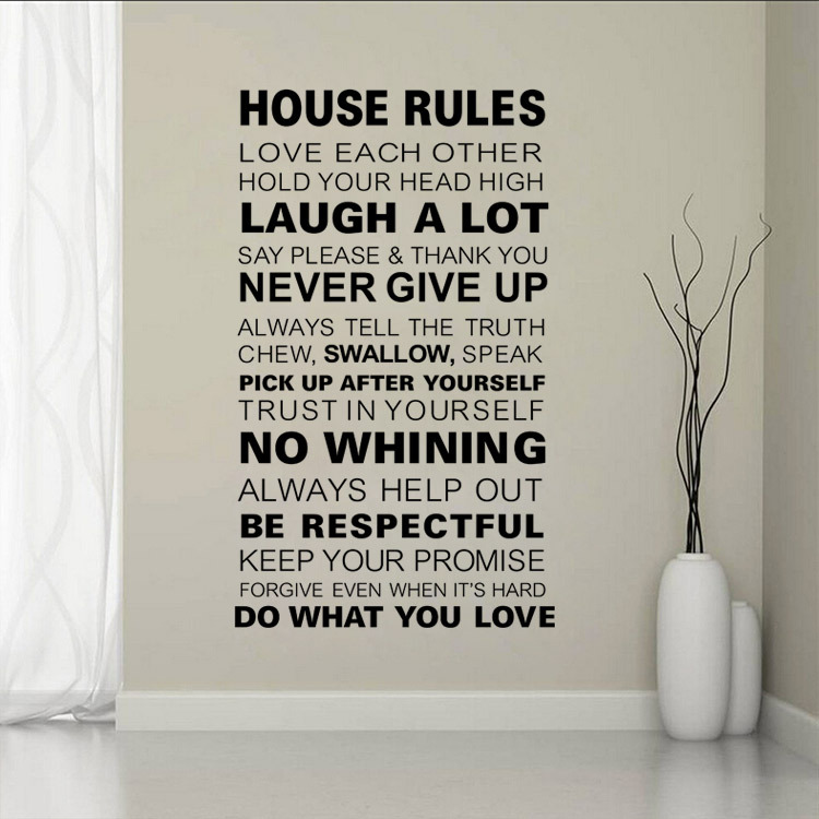 FAMILY RULES Removable Home Wall Sticker Decal Vinyl say please and thank you