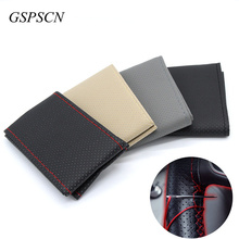 GSPSCN 1PC DIY Car Steering-Wheel Cover on the steering wheel Anti-Slip With Needles and Thread Soft PU leather Size 36 38 40 CM